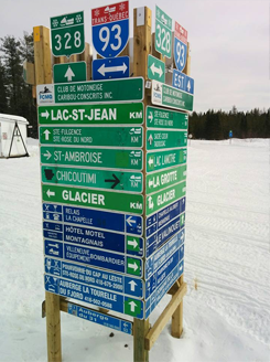 Snowmobile Tours Saguenay, QC, Canada| Ontario Snowcruises, LTD | Ice Falls Sign