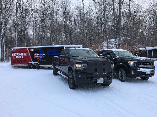 Snowmobile Tours Trailer and Trucks